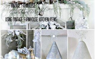 vintage farmhouse christmas mantel, christmas decorations, fireplaces mantels, repurposing upcycling, seasonal holiday decor