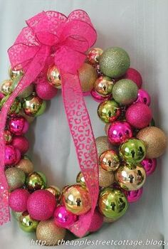 pretty in pink gold green, christmas decorations, crafts, seasonal holiday decor, wreaths