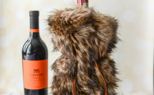 how to make a faux fur wine gift bag, christmas decorations, how to