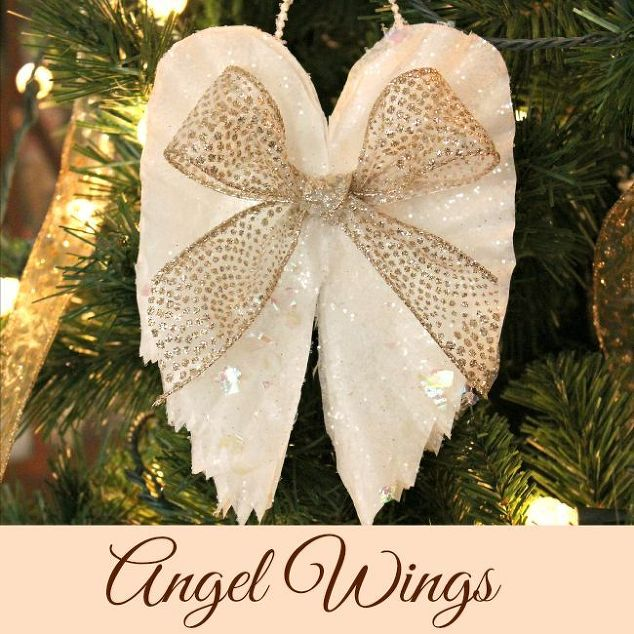 sparkling angel wings made from coffee filters christmas decorations crafts seasonal holiday decor - Angel Decorations