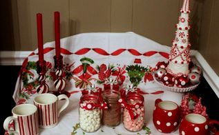 how to set up a peppermint hot chocolate station, christmas decorations
