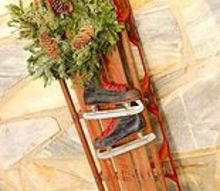 how to make a vintage holiday sled decoration, christmas decorations, repurposing upcycling, seasonal holiday decor, wreaths