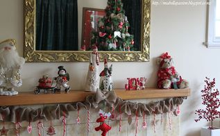 diy gathered burlap mantel for christmas, christmas decorations, crafts, fireplaces mantels, seasonal holiday decor