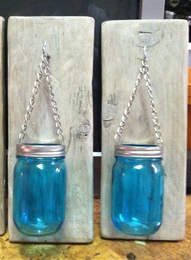 how to make a mason jar and pallet wood candle holder hometalk. Black Bedroom Furniture Sets. Home Design Ideas
