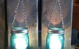 how to make a mason jar and pallet wood candle holder, home decor, mason jars, pallet, repurposing upcycling, wall decor