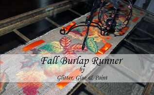 painted fall burlap runner, crafts, seasonal holiday decor, thanksgiving decorations