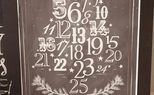 chalkboard advent calendar, chalkboard paint, christmas decorations, crafts, seasonal holiday decor