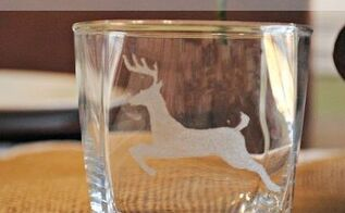 deer silhouette etched glass, christmas decorations, crafts, seasonal holiday decor, Deer Silhouette Etched Glass w Dremel Micro