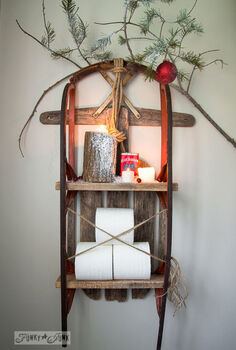 a snow sleigh shelf with the most important job on earth, bathroom ideas, christmas decorations, shelving ideas, small bathroom ideas, storage ideas