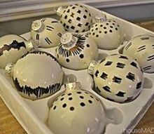 christmas ornaments using black and white sharpie, christmas decorations, crafts, seasonal holiday decor