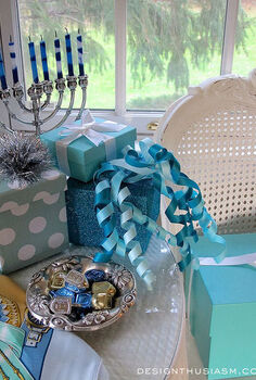 hanukkah table decor in blue, crafts, seasonal holiday decor