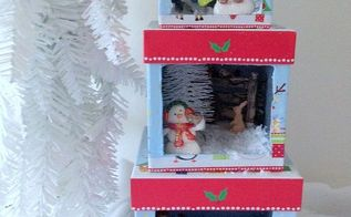 how to make stacking christmas boxes lighted dioramas, christmas decorations, crafts, repurposing upcycling, seasonal holiday decor