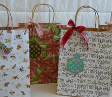 ideas for diy holiday gift bags, christmas decorations, crafts, decoupage, repurposing upcycling, seasonal holiday decor