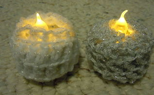 crochet tea light candle holders, christmas decorations, crafts, seasonal holiday decor