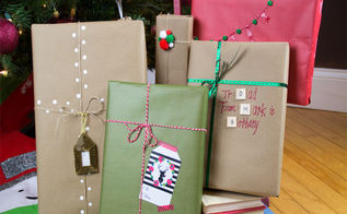 christmas gift wrapping ideas using kraft paper, christmas decorations, crafts, seasonal holiday decor