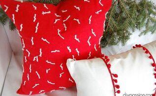 diy red white snowflake pillow, christmas decorations, crafts, seasonal holiday decor, reupholster