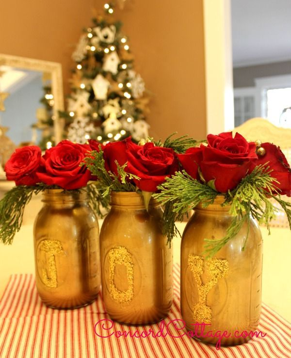 Mason Jar Christmas Decorations: JOY Gold Mason Jars