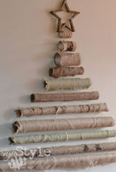 burlap roll tree, christmas decorations, crafts, repurposing upcycling, seasonal holiday decor