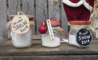 how to make faux snow in a jar ornaments, christmas decorations, crafts, mason jars, repurposing upcycling, seasonal holiday decor