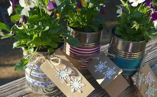 how to make gifts from upcycled can pansy planter, christmas decorations, crafts, flowers, gardening, seasonal holiday decor