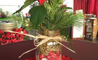 how to make holiday mason jar centerpiece, christmas decorations, crafts, flowers, gardening, mason jars, repurposing upcycling, seasonal holiday decor