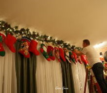 christmas stocking valance, christmas decorations, seasonal holiday decor, window treatments