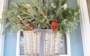 how to make a christmas door basket, christmas decorations, crafts, repurposing upcycling, seasonal holiday decor, wreaths