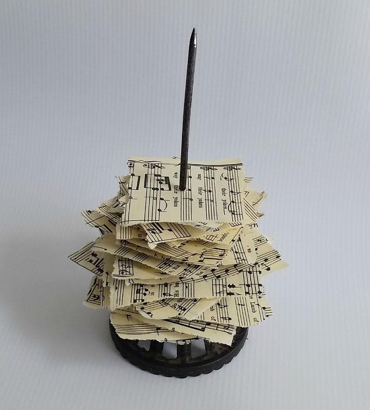 Vintage paper spike sheet music christmas trees hometalk