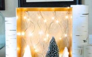 diy christmas woodland fairy light shadow boxes, christmas decorations, crafts, seasonal holiday decor
