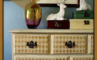 garage sale harlequin dresser makeover, home decor, painted furniture