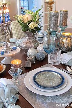 chanukah festival of lights dinner, dining room ideas, seasonal holiday decor