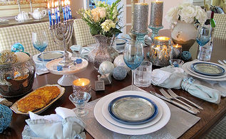 chanukah festival of lights dinner, dining room ideas, seasonal holiday decor