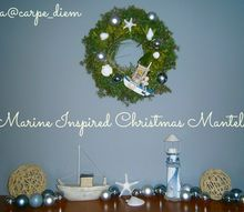 marine inspired christmas mantel, christmas decorations, fireplaces mantels, seasonal holiday decor, wreaths