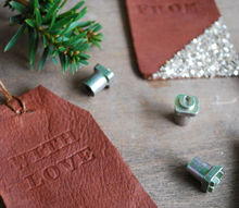 diy leather stamped gift tags, christmas decorations, crafts, repurposing upcycling, seasonal holiday decor