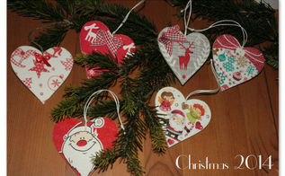 decoupage christmas wooden hearts, christmas decorations, crafts, decoupage, seasonal holiday decor