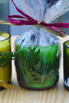 transform wine bottles into handmade candles, christmas decorations, crafts, repurposing upcycling, seasonal holiday decor, Soy wax candles made from wine bottles