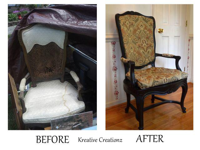 Garage sale find antique chair reupholster hometalk for Reupholstered furniture for sale