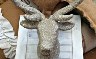 diy german glass glitter deer head, chalk paint, christmas decorations, crafts, seasonal holiday decor