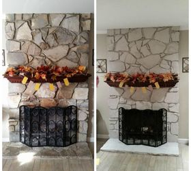 DIY Painted Stone Fireplace | Hometalk