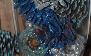 diy glittered pinecone centerpiece, christmas decorations, crafts, repurposing upcycling, seasonal holiday decor