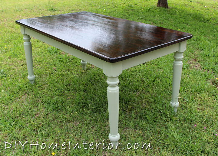 Refinishing A Dining Room Table With Paint And Wood Stain Chalk Painted Furniture