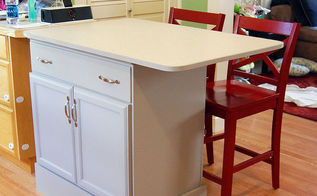 repurposed dresser into custom kitchen island, kitchen design, kitchen island, painted furniture, repurposing upcycling