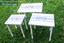 restored grain sack striped numbered stacking tables, painted furniture