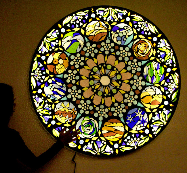 Up-cycle Old Glass Table Top to Stained Glass Mosaic Wall Light Hometalk