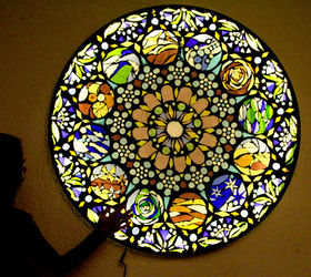 Up Cycle Old Glass Table Top To Stained Glass Mosaic Wall Light, Crafts, Diy