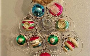 repurposed bed springs and vintage ornaments tree, christmas decorations, crafts, repurposing upcycling, seasonal holiday decor