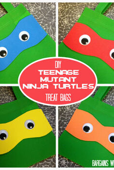 diy ninja turtles treat bags, crafts, halloween decorations, seasonal holiday decor