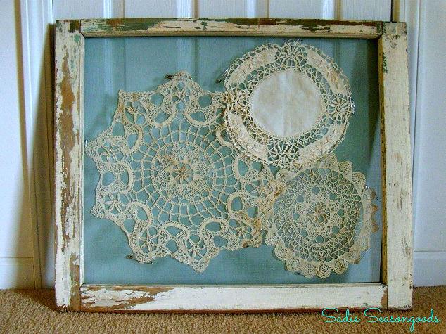 Salvaged Window Frame Doily Display | Hometalk