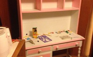 refurbished child s desk to child s desk with hutch, painted furniture, Finished desk