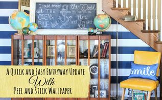 quick entryway update using peel and stick wallpaper, home decor, wall decor